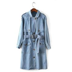 Yoins Yoins Denim Trench Coat ($51) ❤ liked on Polyvore featuring outerwear, coats, jackets, blue, coats & jackets, tie belt, lapel coat, denim coat, blue coat and trench coat