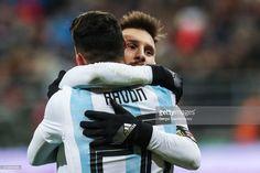 Argentina's Lionel Messi and Cristian Pavon...