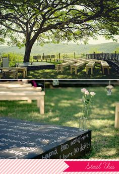 Chalkboard platform for the ceremony! Use it for words the couple writes to each other/about the wedding/whatever, or have the bridal party write on it, or something else! So many ideas...
