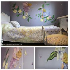 Dreamy little girls bedroom mural.