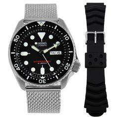Seiko Watch w/ Extra Strap Gents Watches, Seiko Watches, Sport Watches, Watches For Men, Seiko 5 Sports Automatic, Seiko Automatic, Automatic Watch, Authentic Watches