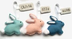 Personalised Easter Decoration, Felt Easter Bunny, Personalized Easter Gifts, Rabbit Ornament, Bunny Decorations This listing is for 1 cute little Easy Easter Crafts, Easter Gift, Baby Crafts, Felt Crafts, Easter Treats, Cute Easter Bunny, Felt Bunny, Oster Dekor, Diy Bunny Toys