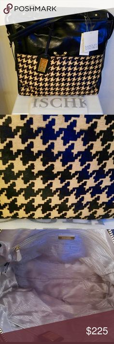 """BADGLEY MISCHKA Houndstooth Leather Purse Handbag BADGLEY MISCHKA """"Miranda"""" Houndstooth Leather Handbag Briefcase Travel Bag New With Tags MSRP: $425 Leather & Italian Calf Hair Black & Nutmeg Houndstooth Pattern Measures 15"""" (H) x 16"""" (L) x 4.5"""" (D); 9""""Drop *Dress It Up With A LBD Or Wear With Your Favorite Jeans!  *Use As An Overnight Bag; Holds PJ's, Change Of Clothes & Toiletries  *For A Classy Work Briefcase; Holds A Laptop, Paperwork & More! Full Front Pocket w/Kiss Lock Closure Dust…"""