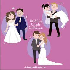 Conjunto de tres recién casados a mano de la sonrisa del vector gratuito