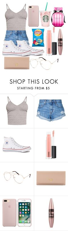 """End of Summer"" by itssasia ❤ liked on Polyvore featuring BasicGrey, Nobody Denim, Converse, MAC Cosmetics, Blue Crown, Prada, Maybelline and Victoria's Secret"