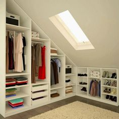 Magnetic attic storage,Attic bedroom design ideas and Attic room low ceiling. Loft Room, Closet Bedroom, Bedroom Decor, Attic Bedroom Storage, Attic Playroom, Master Closet, Bedroom Rustic, Bathroom Closet, Closet Wall