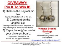GIVEAWAY - Pin It To Win It: To Win This Item from JQJewelryDesigns.etsy.com - follow the instructions: Click on ORIGINAL pin, comment leaving a way to contact you, REPIN the ORIGINAL Pin! Contest ends 7/16/12 @ 11:59pm EST. Winner announced 7/17/12.#promofrenzy #contest #giveaway