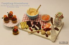1:12 scale miniature // Making Chocolate and Orange Cupcakes. 112 by TemptingMiniatures, $28.00