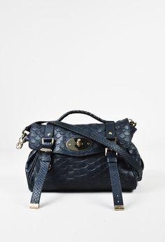 "Mulberry Navy ""Silky Snake Print"" Leather ""Large Alexa"" Satchel Bag – Luxury Garage Sale"