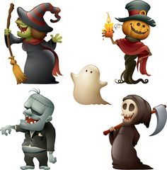 Happy halloween monster set