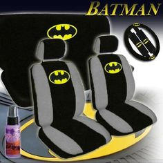 New Design 12 Pieces Batman Classic Logo Car Seat Covers Set Includes Front And Rear