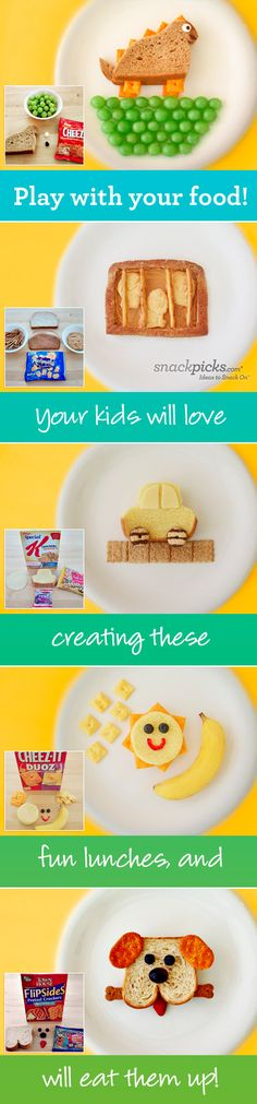 5 Fun Kids Lunchtime Ideas - inspiration, but would likely modify a bit for healthier ingredients