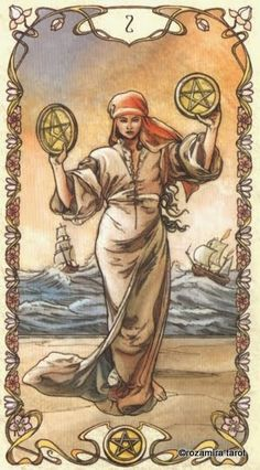 Two of Pentacles P2  In the background, two ships ride the waves easily, cruising the ups and downs of life. The man seems to have a somewhat concerned look on his face, yet he dances with apparent abandon despite the turbulence of the sea behind him.