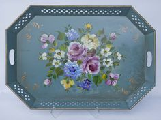 "LARGE VINTAGE HAND PAINTED FLORAL NASHCO ARTIST SIGNED BLUE GREY TOLE TRAY 26"" #AestheticMovement #NashcoProducts"