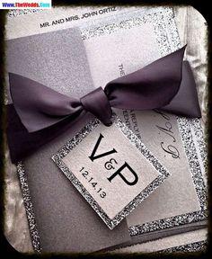 Luxury violet glitter wedding invitations