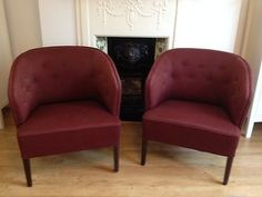 Pair of red Ludvig Pontoppidan chairs armchairs retro vintage antique shabbychic