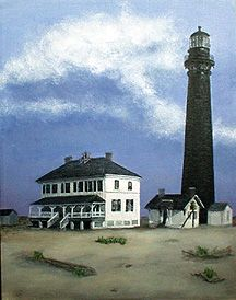 Sand Island Lighthouse 1884.  Located roughly three miles from the Mobile Bay entrance, between Mobile Point on the east and Dauphin Island on the west, stands Sand Island Lighthouse on a narrow strip of land that was once 400 acres.