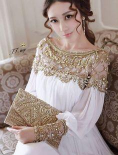 Fabulous Pearl Beaded White and Gold Chiffon Dress