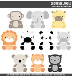 Oh So Cute Jungle Digital Clipart Clip Art by MissTiina on Etsy