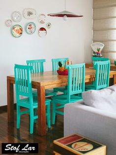 Stof Lar Decorações - Móveis em Madeira de Demolição : Mesa Retangular Modelo Suspensa , com cadeiras Est...