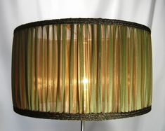 Lamp Shade Antique Greenish Gold Stripes Pleated by JudisLamps, $150.00