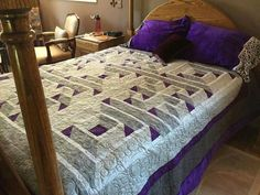 Quilt magazine april/may 2012. Looks so cool with the purple background fabric and accents on the rest of the bed. And the dust ruffle!!! so much depth!
