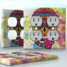 DIY Do It Yourself Home Decor - Easy to apply wall plate wraps   Sugar Skull Hippie Tongue out sugar skull wallplate skin sticker for 2 Gang Wall Socket Duplex Receptacle   On SALE now only $4.95