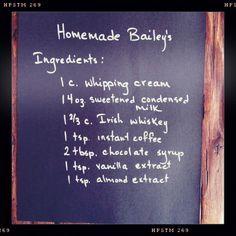 Bailey's Recipe Homemade Liqueur Recipes, Homemade Baileys, Homemade Irish Cream, Baileys Recipes, Homemade Alcohol, Homemade Liquor, Baileys Irish Cream, Irish Cream Drinks, Baileys Fudge