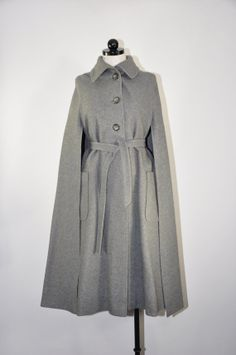 70s gray wool cape coat / vintage 1970s belted long by QuietUnrest, $220.00