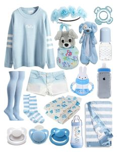 """Little Baby Blue (age regression, etc.)"" by transboyfanboy ❤ liked on Polyvore featuring WithChic, Current/Elliott, Ozone, HOT SOX, Giorgio Armani, Little Giraffe, Gund, Munchkin, Charlotte Russe and Disney"