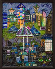 """Cafe Rendevous "" mixed media mosaic Fabric,glass,metal,beads,handmade gems & GlamGroutTM    #mixedmediamosaic #cafemosaic #glassmosaic #interiormosaic"