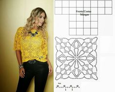 Blusa de Croché Passo a Passo: Gráficos, Fotos Crochet Bolero Pattern, Crochet Diagram, Crochet Chart, Crochet Motif, Crochet Patterns, Crotchet Dress, Black Crochet Dress, Crochet Blouse, Crochet Diy