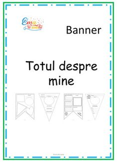 This is a format in Romanian language. It contains 5 banner with All about me theme. First Day Of School, Back To School, Romanian Language, My Themes, Banner Template, Teacher Pay Teachers, Teacher Newsletter, School Ideas, Messages