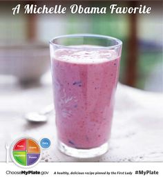 For Try It Tuesday! we are sharing one of the First Lady's favorite. Check out the recipe! Berry Banana Smoothie #fruit #dairy #myplate #myplatebirthday #WellnessWeekly
