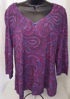 Lizwear NWT Woman's Purple/Pink/Blue/Black Paisley Design Shirt Size XL #Lizwear #Blouse #Casual