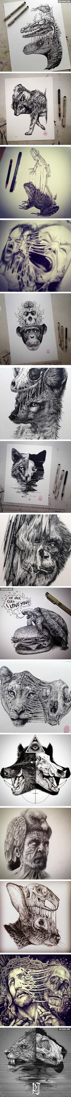 Animals Leave Their Skeletons Behind In These Stunning Dark Drawings (By Paul…