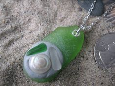 Sea Glass and Sterling necklace with Inlays by SignsCapeCodDesigns, $34.00