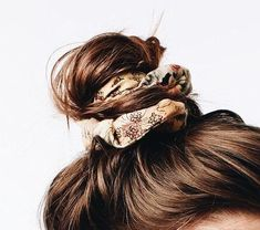 top knot with a patterned scrunchie