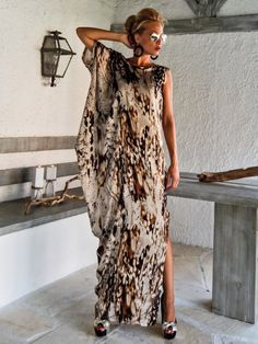 Satin Maxi Dress Kaftan / Summer Kaftan / by SynthiaCouture