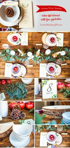 Winter wedding or holiday table decoration with FREE printables!