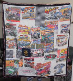 T-shirt  quilt made for a friends husband out of his old racing shirts.  (front)