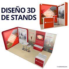 Ejemplo de diseño 3D de stand. Planimetría y diseño en 3 dimensiones con Cinema 4D. Diseñador freelance para imagen de eventos. Diseñador gráfico en Madrid.