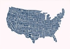 The United States by FOOD.  Genius.  And lovely.  I adore typographic prints!  @LucyLovesThis London, UK