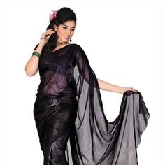 Black Faux Georgette Saree with Blouse