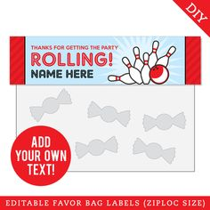 Paper goods and DIY printables for parties and holidays Bowling Party, Treat Bags, Party Planning, Party Favors, Label, Treats, How To Plan, Diy, Goodie Bags