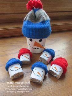 """""""Snowman and babies"""" using Hershey's nuggets, mini coffee cups, and dollar store gloves #stampyourartout #stampinup - Stampin' Up!® - Stamp Your Art Out! www.stampyourartout.com"""