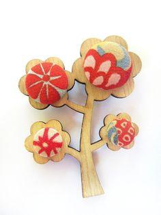 Kimono Tree Brooch - Red Garden - by LaurenWilliams on madeit