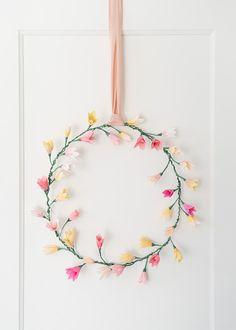 pink paper blossom wreath DIY