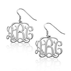 Sterling Silver Monogram Earrings  Custom Made with Any Initial >>> Click image to review more details.(This is an Amazon affiliate link and I receive a commission for the sales)