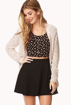 White beige cardigan black with flower pattern crop tank top sleeveless black skater skirt outfit ootd fall spring winter